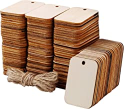 Ruisita 150 Pieces Unfinished Wood Pieces Light Unfinished Wooden Gift Tags with Jute Rope for Home DIY Supplies Wood Crafts