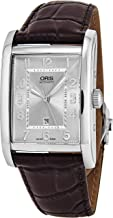 Oris Rectangular Date Mens Brown Leather Band Automatic Watch - Silver Face with Luminous Hands and Sapphire Crystal - Swiss Made Rectangle Watch 01 561 7693 4061-07 5 22 20FC