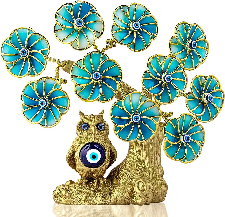 Turkish San Jose Mall Blue Evil Eye Tree with Golden Artifi Sale item Statue Painted Owl