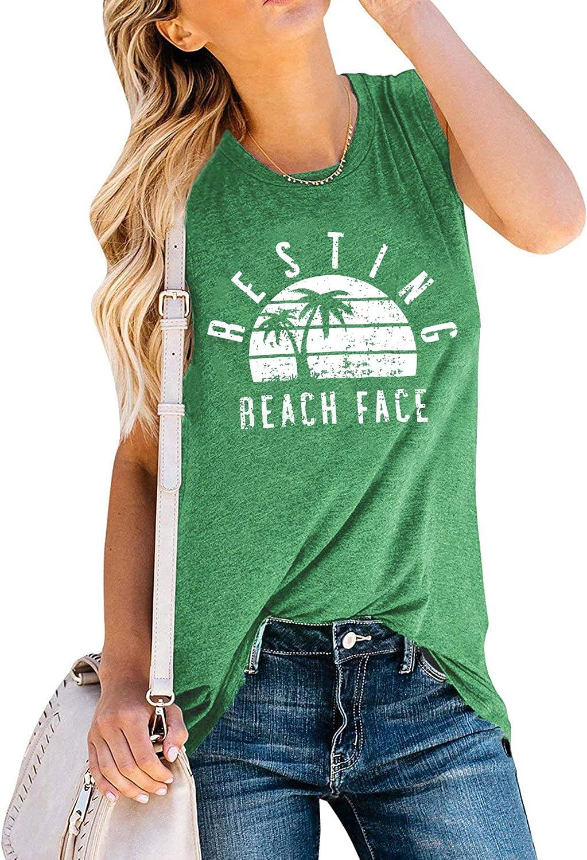 WEITUN Resting Beach Face Tank Tops for Women Summer Sleeveless Graphic Tanks Tops Tee Cami Vacation Shirt