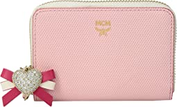 Mina Heart Charm Zipped Card Wallet Mini