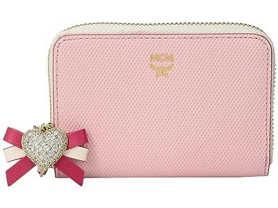 MCM Mina Heart Charm Zipped Card Wallet Mini (Quartz Pink) Wallet Handbags
