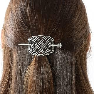 Viking Celtic Hair Slide Hairpins- Viking Hair Accessories Celtic Knot Hair Barrettes Antique Silver Hair Sticks Irish Hair Decor for Long Hair Jewelry Braids Hair Clip With Stick (ID-HH)