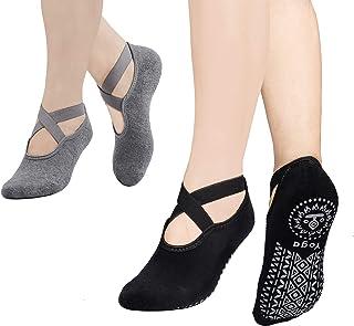 MaoXinTek, Calcetines Yoga para Mujer 2 Pair Antideslizantes Algodón Pilates Calcetines con Correas para Danza Ballet Fitness Negro+Gris