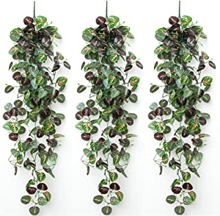 Fake Vines, POZEAN 3 Pack Artificial Plants Fake Watermelon Leaves Fake Hanging Plants 44inch/3.6ft Each, Greenery Garland...