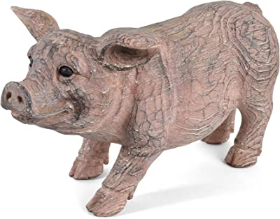 Creative Co-op Resin Pig with Carved Wood Finish, Standing - Amazon.com: Demon Skull - Collectible Figurine Statue Figure