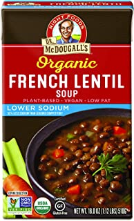 Dr. Mcdougall's Right Foods Soup, French Lentil, Lower Sodium, 17.6 Ounce (Pack of 6)
