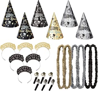 Amscan Elegant Eve New Year's Party Kit for 25, Includes Cone Hats and Tiaras