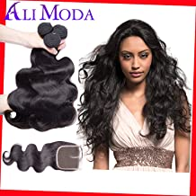 Ali Moda Hair Brazilian Body Wave Remy Hair 8A 100% Unprocessed 3 Bundles Human Hair Extensions Weave With 8inch Middle Part Closure Natural Black Color(14 12 10+8
