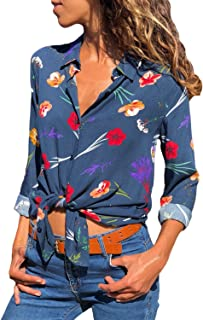 Womens Blouses Long Sleeve Floral Print Button Down Shirts Casual Tops Women