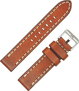Vintage Brown Genuine Leather, Contrast Stitched with Thick Padding Watch Band by DAKOTA