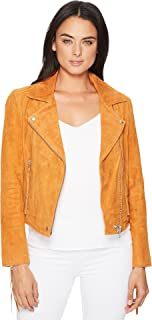 Blank NYC Womens Suede Moto Jacket w/Fringe