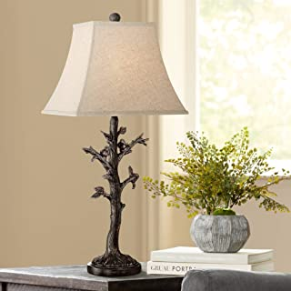 Cawthorne Cottage Table Lamp Rustic Birds on Tree Off White Burlap Square Shade for Living Room Family Bedroom Bedside - Regency Hill