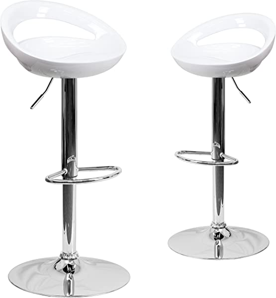 Flash Furniture 2 Pk Contemporary White Plastic Adjustable Height Barstool With Rounded Cutout Back And Chrome Base