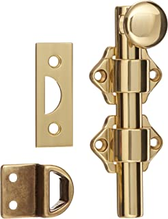 Rockwood 630-4.3 Solid Brass Surface Bolt with Universal And Mortise Strike, 2 Guide, 4