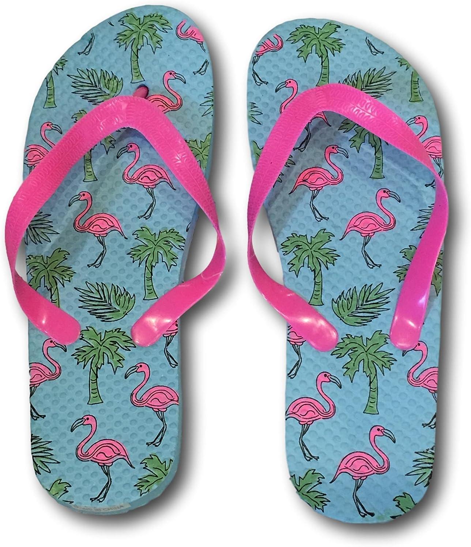 Greenbriar International Ladies Pink Flamingo Adorable Summer Flip Flops Sandals