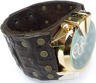 Alligator and Buffalo Bison Leather handmade cuff bracelet Men Brass Rose color Men Watch Steam punk customize to wrist size