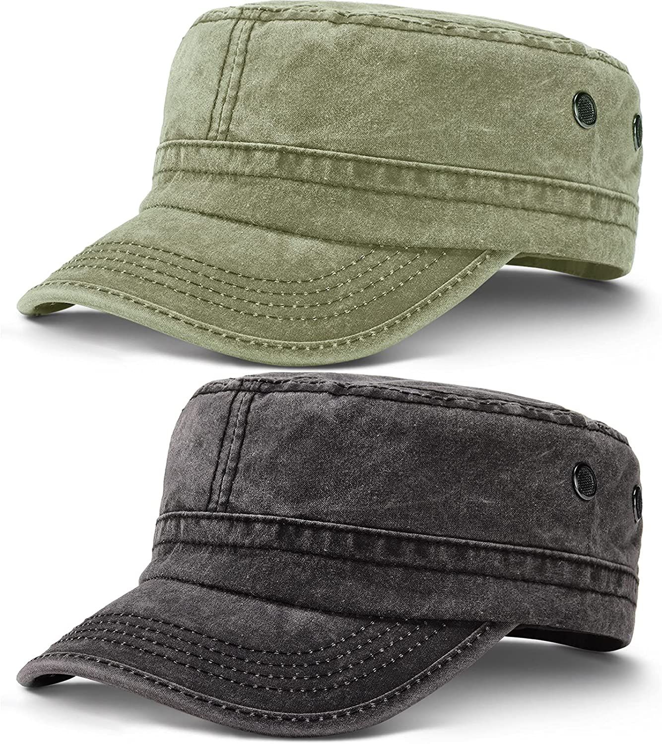 2 Pieces Cadet Army Caps Military Flat Top Cap Washed Military Unisex Cadet Cap