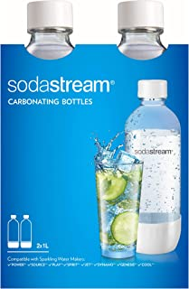 SodaStream Dishwasher Safe 1L Classic DWS Carbonating Bottle White (twinpack), Pack of 2