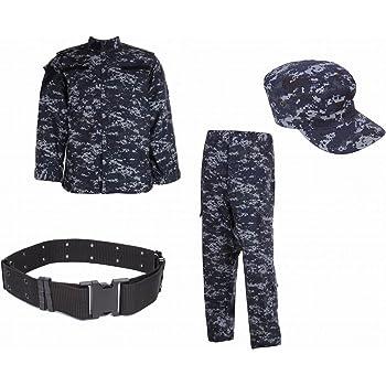 【next.design】 U.S.NAVY ピクセルブルー BDU 4点セット 【 ジャケット + ズボン + ワークキャップ + デューティーベルト 】 米軍 海軍 迷彩服 デジタルブルー 戦闘服 上下セット (M)