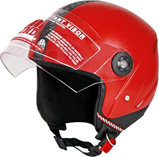 JMD HELMETS Grand Open Face Helmet (Red, Large)