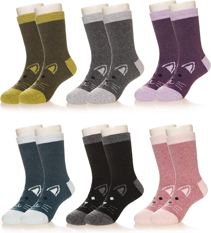 Kids Boy Girls Super Soft Warm Wool Socks For Kids Child Toddlers 6 Pairs (CAT