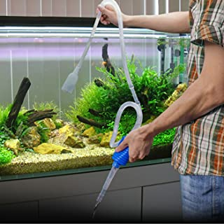 HDE Aquarium Cleaner Fish Tank Gravel and Sand Vacuum Long Nozzle Siphon Cleaning Pump for Changing Tank Water No Spill Fish Tank Gravel Cleaner and Aquarium Sand Vacuum