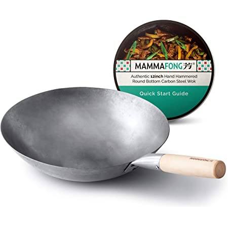 Mammafong Round Bottom Carbon Steel Wok Pan - Authentic Hand Hammered Woks and Stir Fry Pans - 12-inch Pow Wok for gas stoves