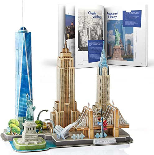 new arrival CubicFun 3D Puzzles for Adults Newyork Cityline Architecture Building Model Kits Collection Toys Gift Keepsake popular for Men and outlet online sale Women, statue of liberty, Empire State Building, Chrysler Building 123 Pieces outlet online sale