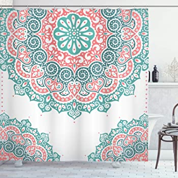 Fabric Bathroom Decor Set with Hooks Coral Teal 70 Inches Ambesonne Coral and Teal Shower Curtain Modern Tribal Mandala Tibetan Healing Motif with Floral Geometric Ombre Art