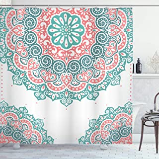 Ambesonne Oriental Shower Curtain, Soft Colored Mandala South Culture Inspired Floral Image, Cloth Fabric Bathroom Decor Set with Hooks, 75