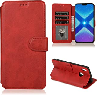Huawei Honor 8X/View 10 Lite Case,CSTM Protective Folio PU Leather Wallet Phone Shell Cover with Credit Card Slots,Cash Pocket,Stand Holder,Magnetic Closure for Huawei Honor 8X 2018 (Red)