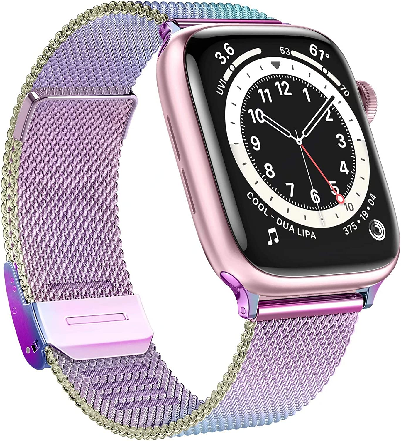 GBPOOT Bands Compatible with Apple Watch Bands 38mm 40mm 42mm 44mm,Clasp Stainless Steel Milanese Bands for iwatch Series 6/5/4/3/2/1/SE Men Women(Multicolour,38/40mm)
