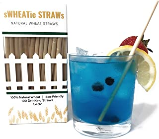 All-Natural Compostable Wheat Hay Straws for Drinking - Cocktail 100 Pack, Single-use, Disposable, Biodegradable, Eco-Friendly and BPA Free. A Great Alternative to Plastic, Paper, Silicone and Metal