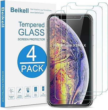 Beikell [4 Stück Panzerglas Schutzfolie für iPhone XS Max [6,5 Zoll], Premium Gehärtetes Glas, 9H Härte, Kratzfest, Blasenfrei, HD