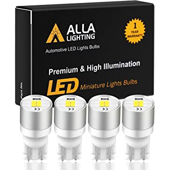 Alla Lighting Newest 194 LED Bulbs Extremely Super Bright T10 168 W5W 2825 175 158 CANBUS Replacement 12V 1616 SMD Car License Plate Light Interior Map Dome Door Lights, 6000K Xenon White