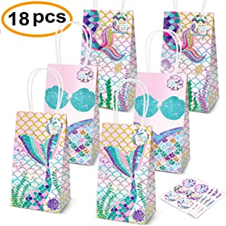 Mermaid Party Supplies,18 Pack Mermaid Party Bags Mermaid Party Favors Gift Bags,Mermaid Goodie bags Treat Bags