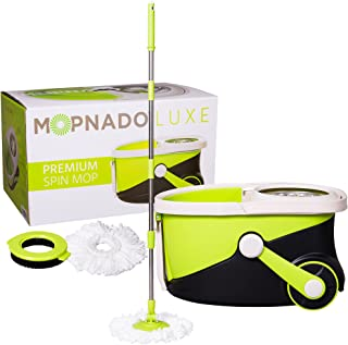 MOPNADO – Deluxe Stainless Steel Rolling Spin Mop System with 2 Replacement Microfiber..