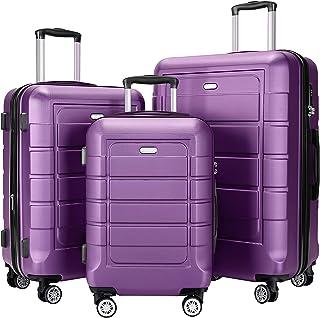 SHOWKOO Luggage Sets Expandable PC+ABS Durable Suitcase set Double Wheels TSA Lock Purple 3pcs