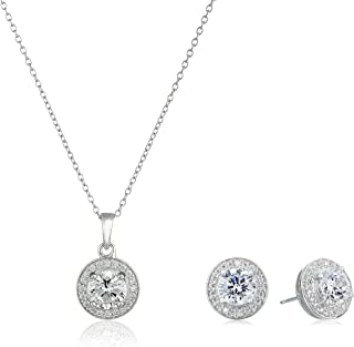 Sterling Silver Cubic Zirconia Halo Pendant Necklace and...