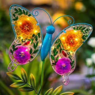 Polami Outdoor Solar Light Garden Stake - Decorative Metal Glass Butterfly Decor Fairy String LED for Walkway, Pathway, Yard, Lawn