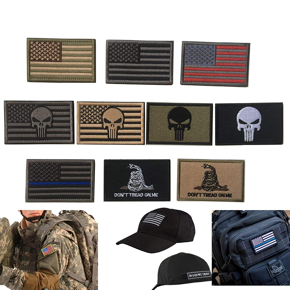Bundle 10 Pieces US Flag Patch American Flag Punisher Velcro Patches Badges, Don't Tread On Me Fully Embroidered Tactical Military Morale Patches Set (A-Mixed 10 Pieces)