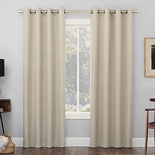 "Sun Zero Marino Tonal Texture Draft Shield Fleece Insulated Total Blackout Grommet Curtain Panel Pair, 50"" x 84"", Ecru"