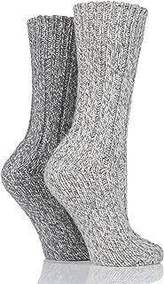 SockShop Women's 2 Pair Ribbed Wool Boot Socks