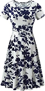 Women Short Sleeve Round Neck Summer Casual Flared Midi Dress