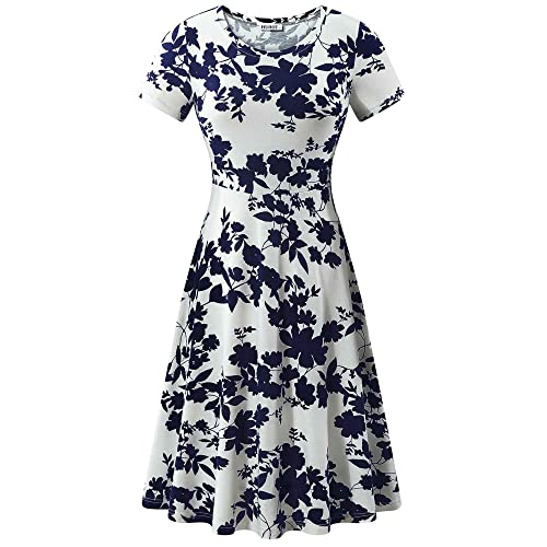 4eede81b8a HUHOT Women Short Sleeve Round Neck Summer Casual Flared Midi Dress