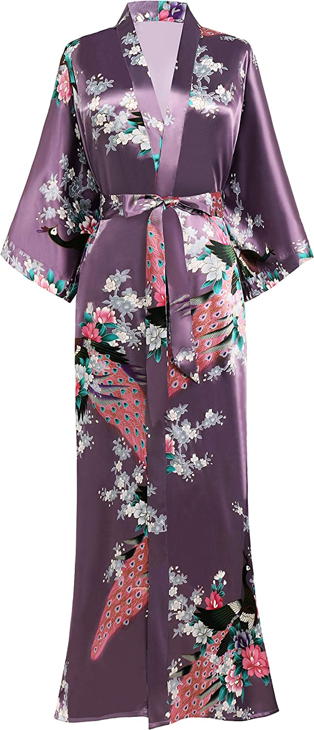 BABEYOND Women's Kimono Robe Long with Peacock and Robes Omaha Mall Blossom unisex