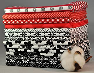 Designer Black/White/Red Fat Quarter Bundle, 14 Pieces, 3 1/2 Yards Total, 100% Cotton Fabric