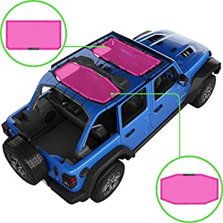 ALIEN SUNSHADE Jeep Wrangler JLU (2018-Current) 2 Piece Front and Rear Sun Shade Mesh Top Cover (Pink) – 10 Year Warranty ...