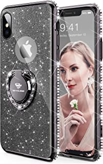 OCYCLONE Case for iPhone X, Cute Glitter Bling iPhone X Phone Case with Kickstand Diamond Rhinestone Bumper Ring Stand Sparkly Protective Apple iPhone X Case for Girls Women - Black